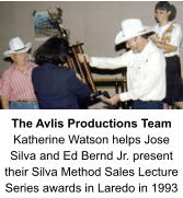 The Avlis Productions Team Katherine Watson helps Jose Silva and Ed Bernd Jr. present their Silva Method Sales Lecture Series awards in Laredo in 1993